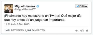 Twitter cumple 9 años y hace un repaso de su historia en tweets - Primer-Tweet-Miguel-Herrera