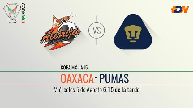 Alebrijes vs Pumas, Llave 1 de vuelta en la Copa MX Apertura 2015 - Alebrijes-vs-Pumas-en-vivo-Copa-MX-Apertura-2015