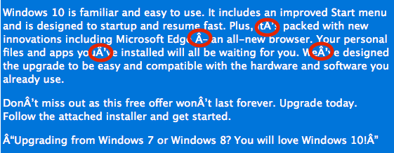 "E-mail que ofrece gratis Windows 10 ""secuestra"" información personal - Character_errors-CTB-Locker"