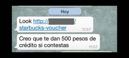 Se propaga en WhatsApp supuesto mensaje de Starbucks que intenta robar tu información