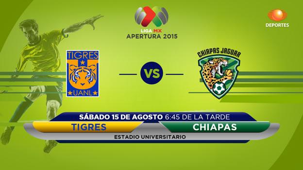 Tigres vs Jaguares en la fecha 5 del Apertura 2015 - Tigres-vs-Jaguares-de-Chiapas-en-vivo-por-Televisa-Deportes-Apertura-2015