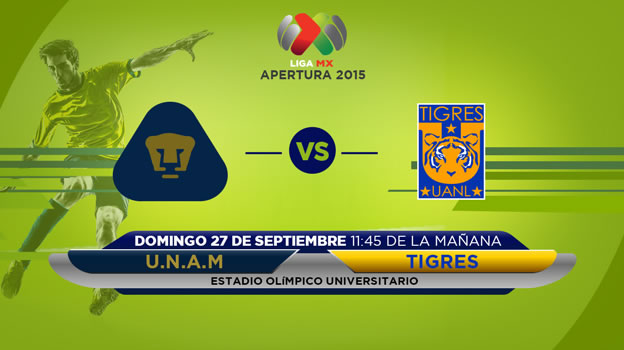 Pumas vs Tigres, Jornada 10 del Apertura 2015 - Pumas-vs-Tigres-en-vivo-por-Televisa-y-TDN-Apertura-2015