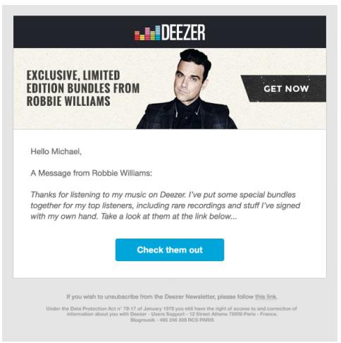 Deezer se adentra al negocio comercial y de promoción de conciertos - deezer-y-bandpage-caso-de-exito-robbie-williams