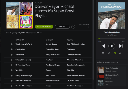 Spotify crea un Playlist exclusivo para disfrutar del Super Bowl 50