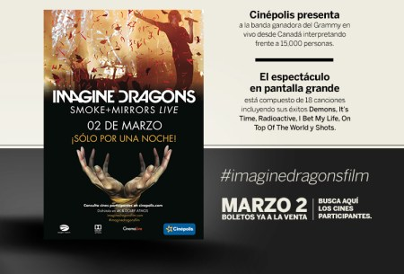 Cinépolis presenta Imagine Dragons Smoke + Mirrors por única vez en cines