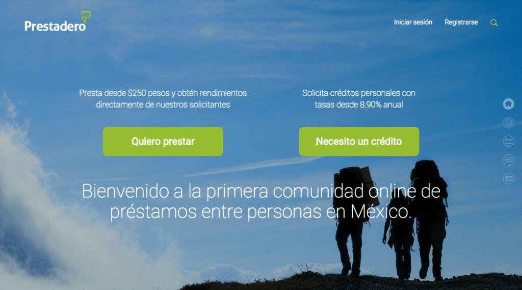 sitio web prestadero Prestadero, plataforma de préstamos entre personas por Internet en México