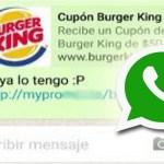 Advierten de nueva estafa vía WhatsApp con cupón de Burger King