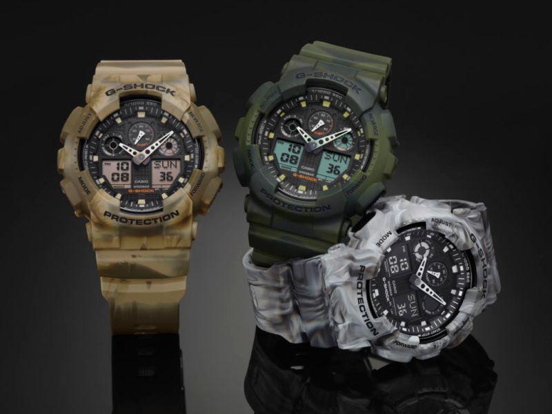 Camouflage serie G-Shock, diseño marmoleado en la que ninguna pieza es idéntica - ga-100mm_1-800x600