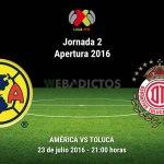 América vs Toluca, J2 del Apertura 2016 ¡En vivo por internet!