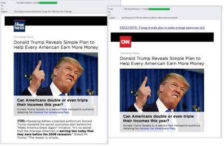 Temas más utilizados como gancho de spam:Donald Trump y Juegos Olimpicos