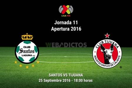 Santos vs Tijuana en la Jornada 11 del Apertura 2016 | Resultado: 1-2