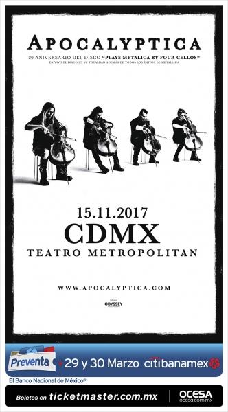 Apocalyptica regresa a México en noviembre 2017 ¡Entérate! - apocalyptica-mexico-2017