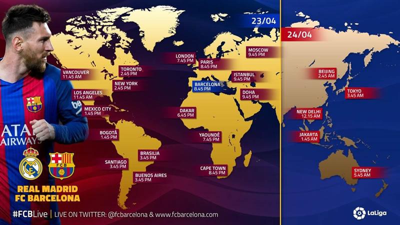 Horario real madrid vs barcelona 2017 y canal para ver el for A que hora juega el real madrid