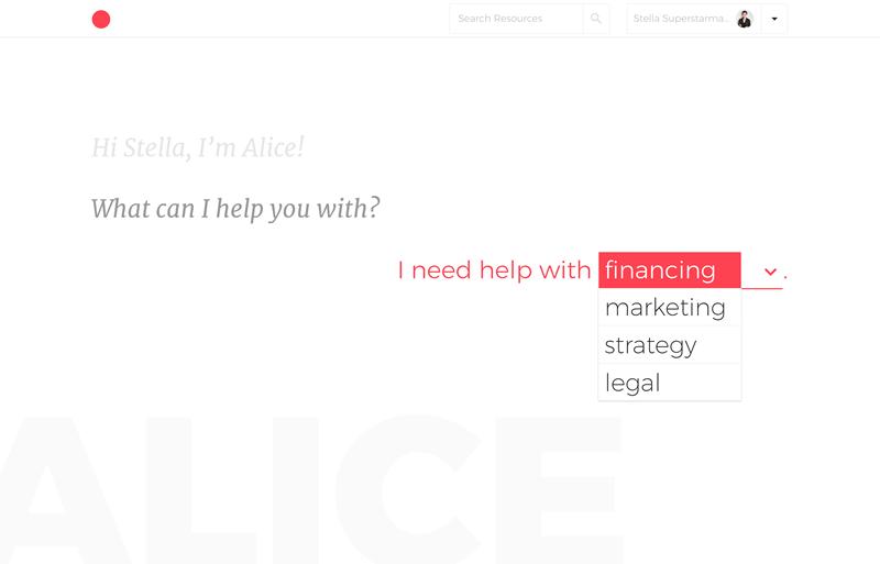 Hello Alice: el primer asesor virtual basado en IA para mujeres emprendedoras - alice-category-dropdown
