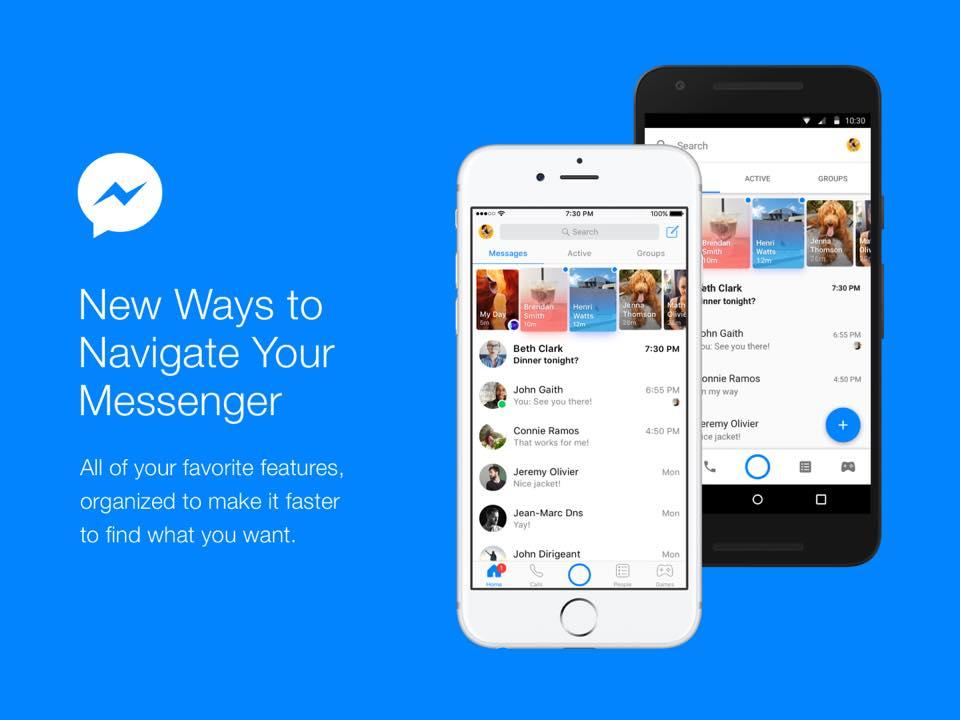 La app de Facebook Messenger se rediseña, poniendo a las conversaciones de primero - facebook-messenger-new-design
