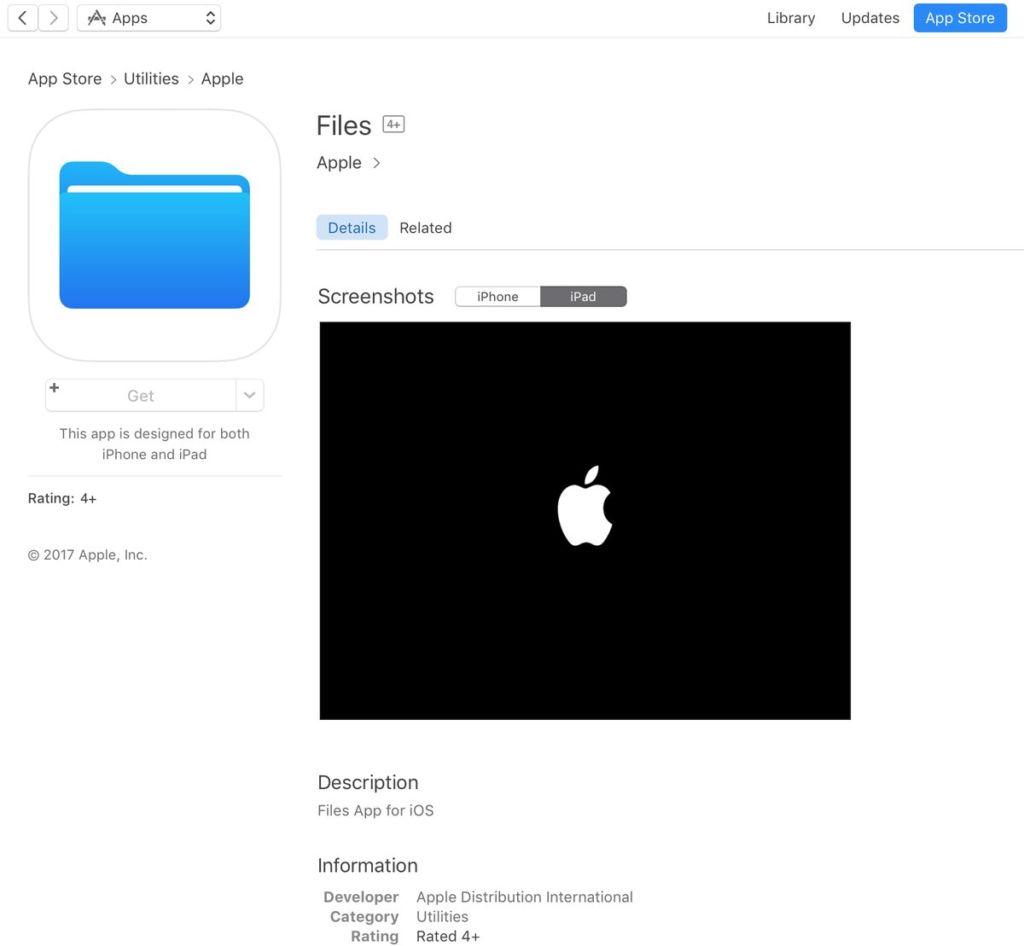 """Una aplicación llamada """"Archivos"""" aparece en la App Store - apple-files-app-store-published"""