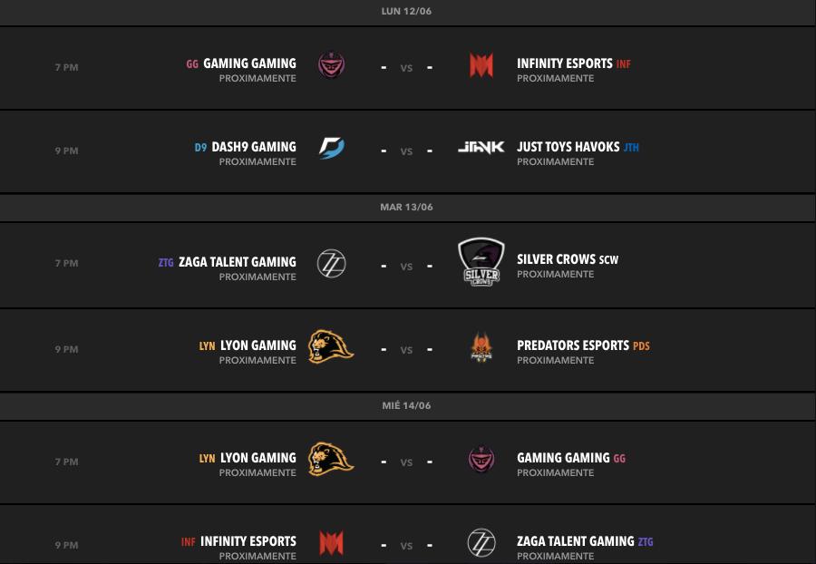 Liga Latinoamérica Norte: Predators eSports y Lyon Gaming empatados en primer lugar - calendario-semana-3-torneo-clausura-lln
