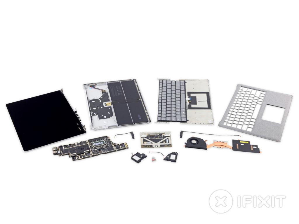 ifixit surface lap dissambled La Microsoft Surface Laptop es calificada de irreparable