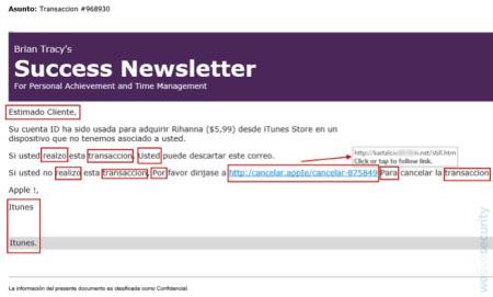 correo falso que supone la compra de temas de rihanna en itunes 450x271 Advierten sobre correo falso que supone la compra de temas de Rihanna en iTunes