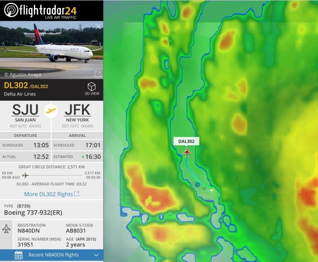 Un avión de Delta Airlines logra entrar y salir de Puerto Rico, desafiando al huracán Irma - delta-airlines-vs-irma