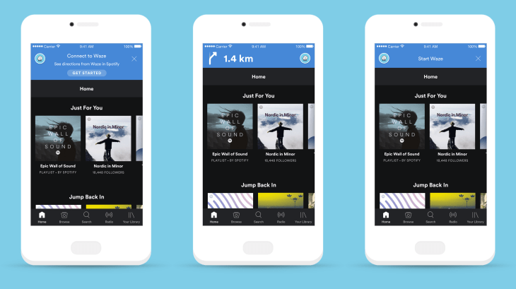 Waze y Spotify ¡ya disponible en iOS! - spotify-waze-movil