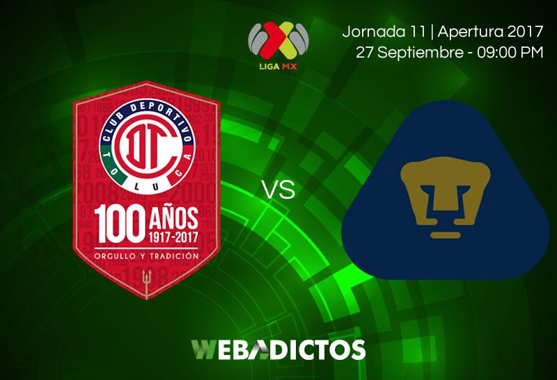 Toluca vs Pumas, Jornada 11 del Apertura 2017   Resultado: 2-1 - toluca-vs-pumas-j11-apertura-2017