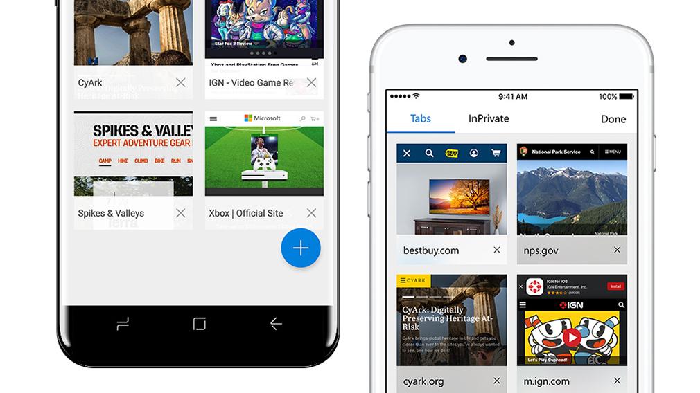 Microsoft Edge llega a smartphones Android y iOS en forma de beta - edge-tabs