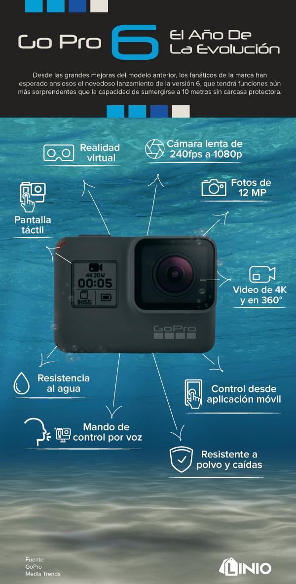 La nueva GoPro HERO 6 4k Black ¡ya disponible en Linio.cl! - gopro-4k-hero-6-info