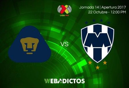 Pumas vs Monterrey, Jornada 14 Apertura 2017 ¡En vivo por internet!