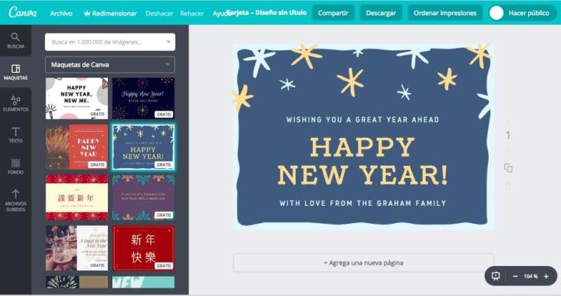 Tarjetas de año nuevo 2019: Apps y sitios para enviarlas o crearlas tu mismo - tarjetas-ano-nuevo-canva-800x423