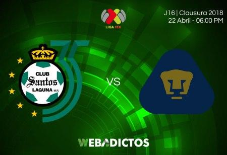 Santos vs Pumas, Jornada 16 del Clausura 2018 ¡En vivo por internet!