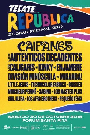 """Anuncian el lineup de la segunda edición del Tecate República """"El Gran Festival"""""""