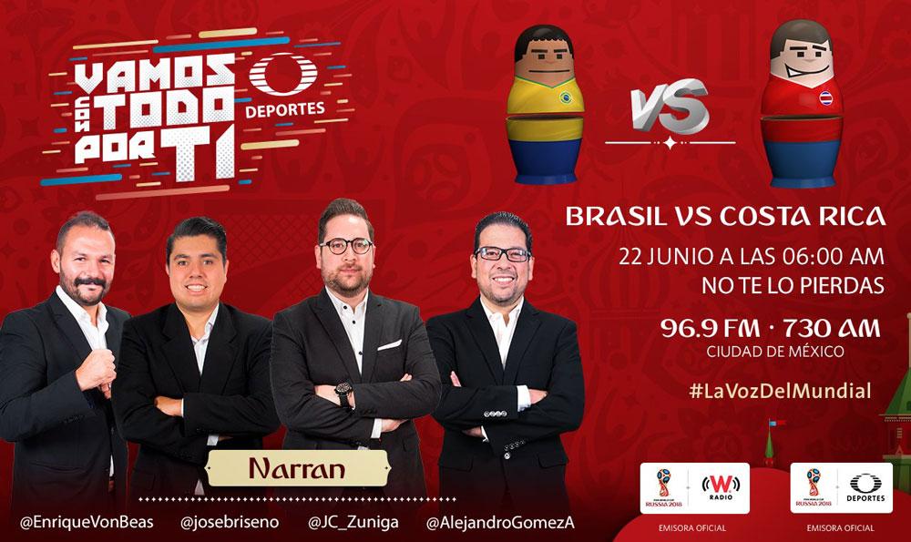 Brasil vs Costa Rica en el Mundial 2018 ¡En vivo por internet! - brasil-vs-costa-rico-por-radio-mundial-2018