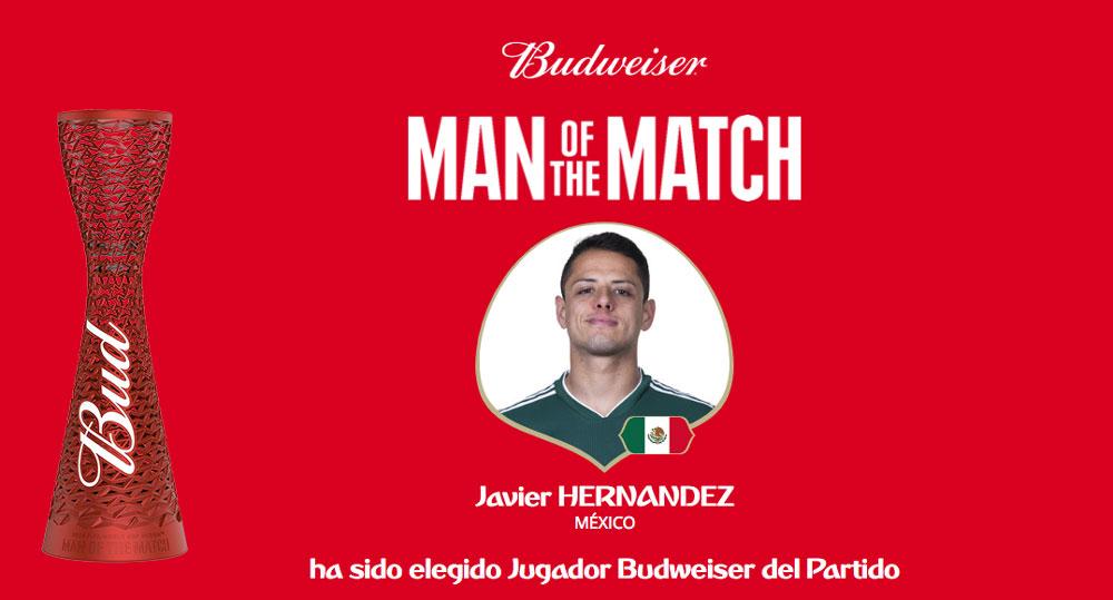 Javier Hernández fue elegido como el mejor jugador del partido México vs Corea - javier-chicharito-hernandez-jugador-del-partido