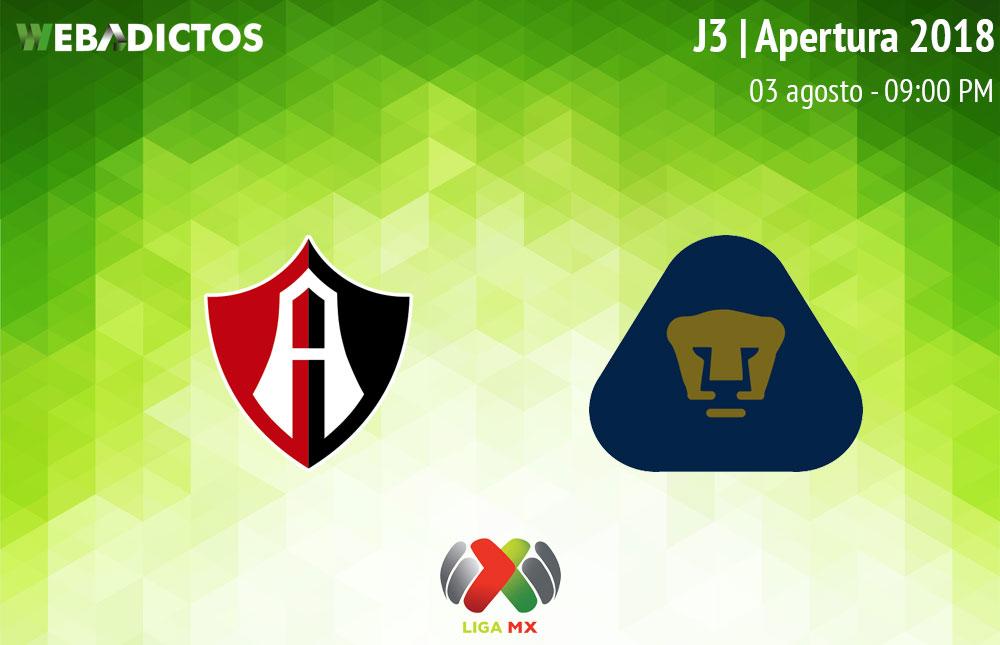 Atlas vs Pumas, Jornada 3 del Apertura 2018 ¡En vivo por internet! - atlas-vs-pumas-apertura-2018