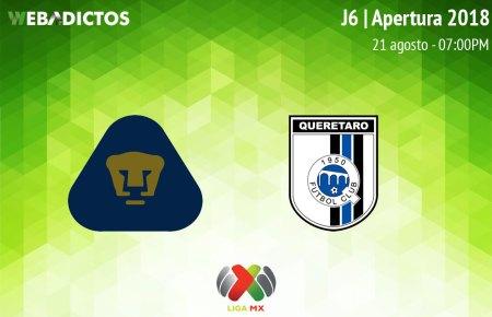 Pumas vs Querétaro, J6 de la Liga MX A2018 ¡En vivo por internet!