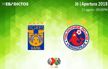 Tigres vs Veracruz, Jornada 6 de Liga MX A2018 ¡En vivo por internet!