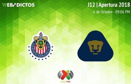 Chivas vs Pumas, Jornada 12 Apertura 2018 ¡En vivo por internet!