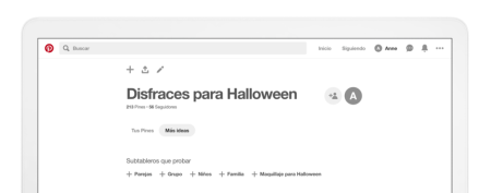 "Pinterest presenta la pestaña ""más ideas"""