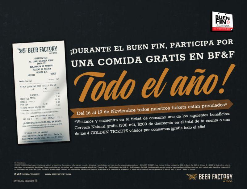 Participa para ganar comidas gratis en Beer Factory & Food todo el año, en este BUEN FIN - bff-buen-fin-800x612