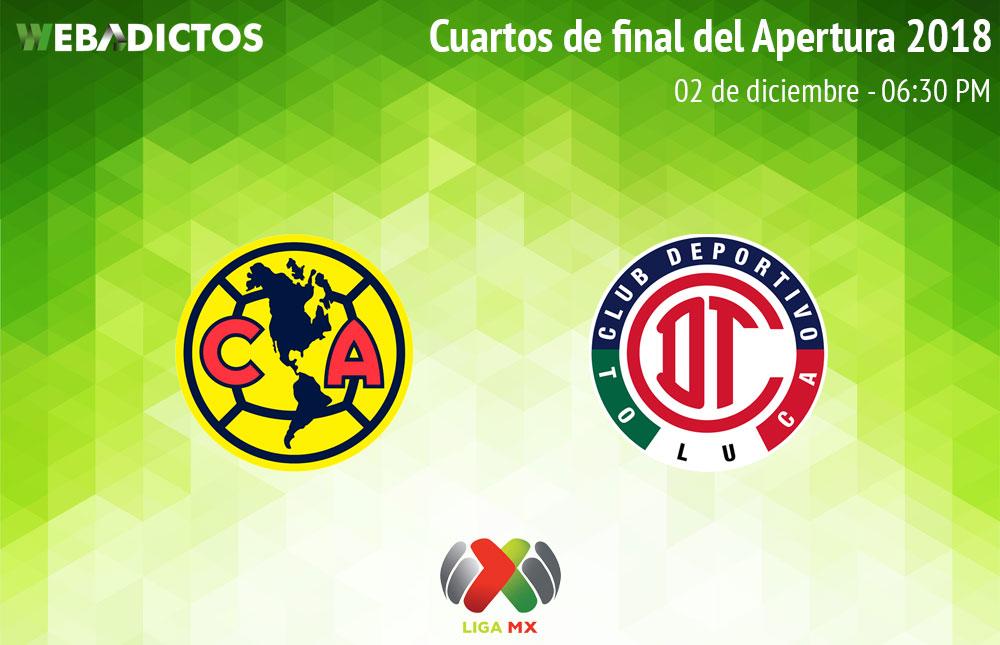 América vs Toluca, Cuartos de final del A2018 ¡En vivo por internet! - america-vs-toluca-liguilla-apertura-2018