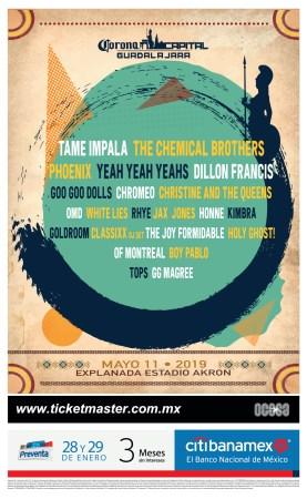 Cartel oficial de la segunda edición de CORONA CAPITAL Guadalajara