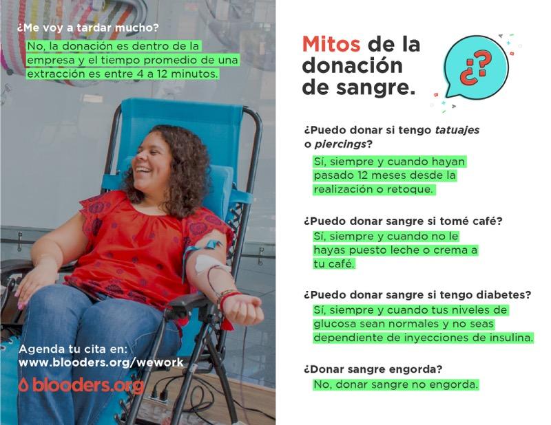 WeWork y Blooders activan campañas para conseguir 220 donadores de sangre - mitos-para-donar-sangre