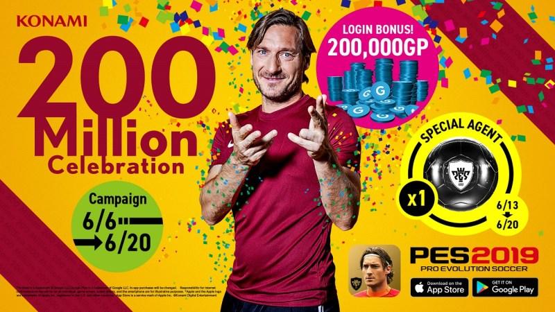 Celebra las 200 millones de descargas de PES 2019 Mobile, con bonos especiales - 200million_pes-2019-800x450