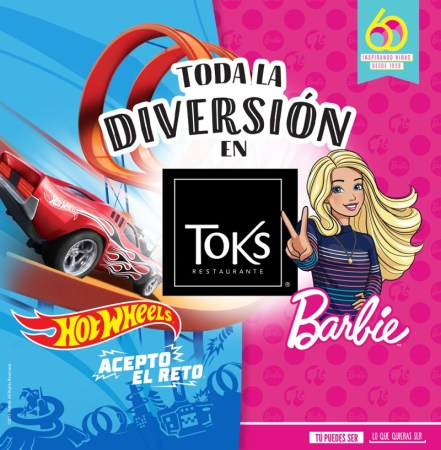 Nuevo menú infantil en Toks dedicado a Barbie y Hot Wheels