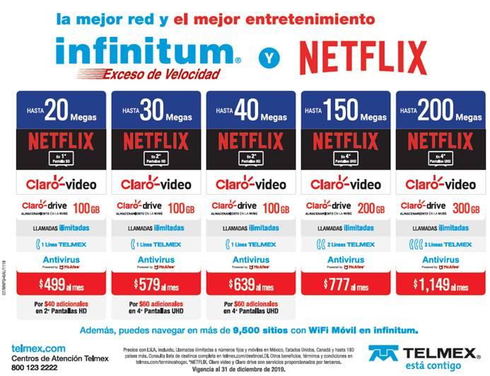 Telmex lanza nuevos paquetes Infinitum con suscripción a Netflix - paquetes-infinitum-suscripcion-netflix