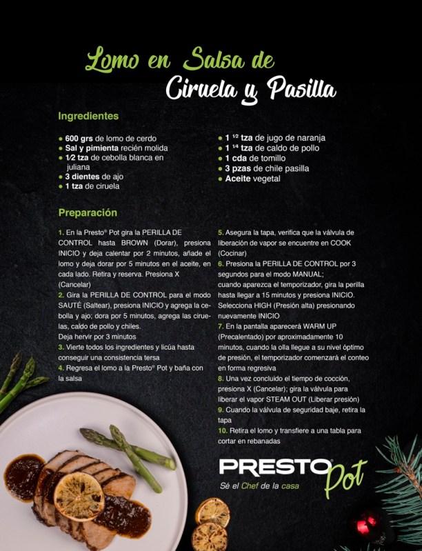 Presto Pot, olla multiusos con 19 funciones programables ¡se el chef de la casa! - receta_presto_diciembre