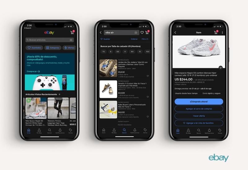 eBay lanza la funcionalidad Dark Mode en su app - dark-mode-ebay-800x547