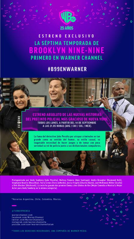 Estreno de la séptima temporada de Brooklyn Nine-Nine el 14 de septiembre por Warner Channel - brooklyn-99-448x800