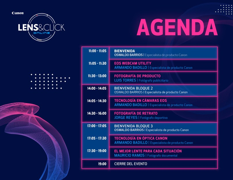 Lens&Click Online de Canon, evento digital de fotografía - agenda_lensclick-online_2020